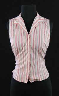 ANN TAYLOR Pink White STRIPED Sleeveless DRESS SHIRT Top Blouse SP