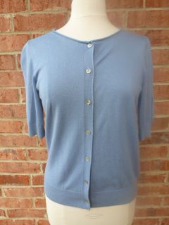 ANN TAYLOR M Blue Lightweight Cardigan Sweater Cashmere Blend