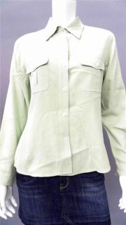 Ann Taylor Misses M Silk Long Sleeve Button Down Top Mint Solid Shirt