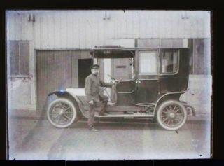 Antique Glass Negative Photograph Man Vintage Car
