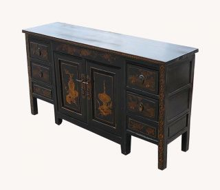 Chinese Antique Gold Paint Console Buffet Table WK975