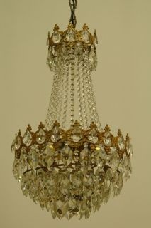 Stunning Antique French Style Vintage Crystal Lamp Chandelier Brass