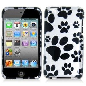 and white dog paw print hard snap on case for apple ipod touch 4th gen