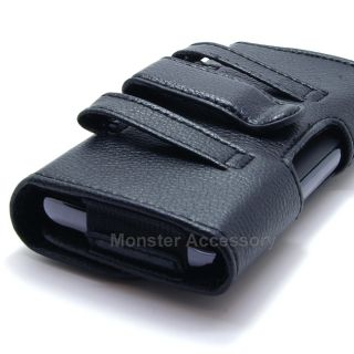 ASMYNA Black Leather Holster Pouch Case Belt Clip for Apple iPhone 5