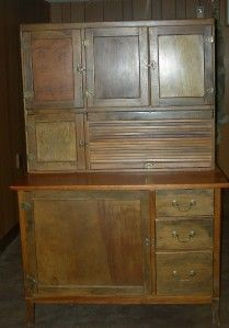 Antique Wooden Hoosier Cabinet Kitchen Hutch Local Pickup Only 18015