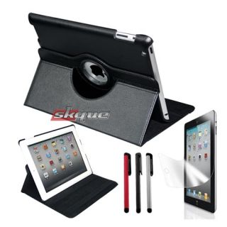 Rotating Leather Case Cover Stylus Kit for Apple iPad 2 WiFi 3G