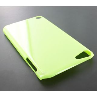 Glossy Green Hard Gel Skin Cover Case for Apple iPod Touch 5 5th Gen