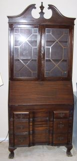 ANTIQUE Mahogany Wood Secretary Desk 13 Colony Drop Desk Hutch Display