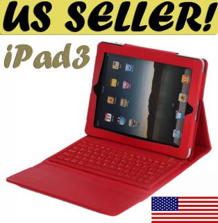 Red Bluetooth Keyboard Leather Case Apple iPad 3 The New iPad iPad 2