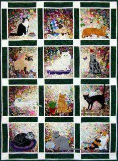 Whims Rachels Cat Garden Watercolor Applique Quilt Kit