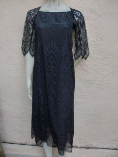 Anna Sui Gorgeous Vintage Inspired Black Metallic Lace Victorian Goth