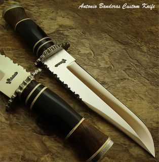 Antonio Banderas 1 of A Kind Custom Bowie Knife Damascus Guard But Cap
