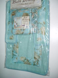 Roses Bath Aqua Teal Blue Fabric Shower Curtain Rug Hooks Set