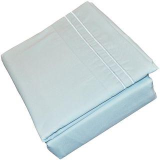 6pcs Aqua Blue Soft Microfiber Sheet Set with Embroidered Pillowcases