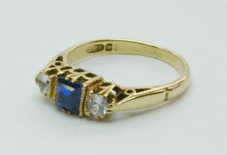 Beautiful 1950s Vintage Gold Cobalt Blue White Sapphire Ring Natural