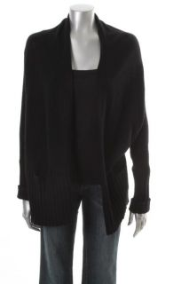 Aqua New Black Cashmere Ribbed Trim Long Sleeve Open Front Cardigan