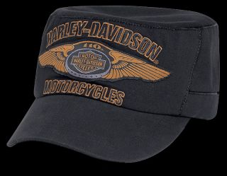 Harley Davidson 110th Anniversary Winged Logo Flat Top Hat