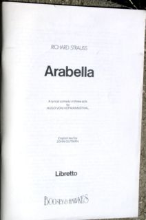 Libretto Arabella by Richard Strauss Opera Lyrics in German English