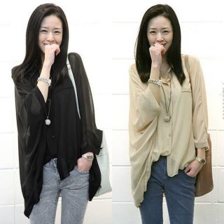 Fashion Womens Chiffon Batwing Loose Shirt Asym Hem Blouse Tops