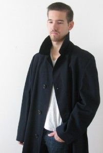AQUASCUTUM London Mans Blue Virgin Wool Trench Mac Over Coat Jacket 46