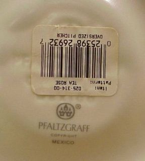 PFALTZGRAFF TEA ROSE OVERSIZED large PITCHER 64 oz  Still has orig