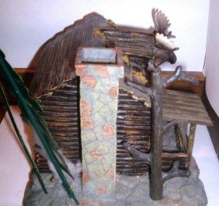 miniature scale model moose lodge log cabin