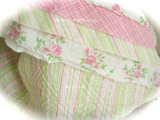 April Cornell Pink Rag Cottage Rose Full Queen Quilt Bed Set Shabby 3