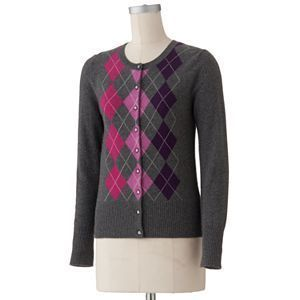 NWT Apt 9 Argyle Gray Pink Purple XL 100% Cashmere Cardigan Sweater $