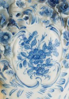Antique Dresden Blue Flower Putti Cherub Angels Scalloped Vase