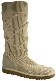 New $160 UGG Australia Classic Argyle Knit Women Boots US 10 Cream