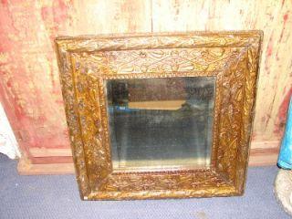 Vintage Wall Hanging Ornate Gold Framed Beveled Mirror