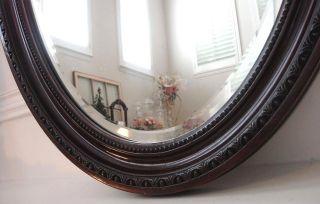 Antique Oval Carved Wood Frame Beveled Glass Mirror
