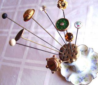 Hat Pin Lot 10 Antique Victorian Edwardian Vintage Long Hat Pins Plus