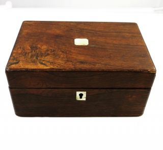 Antique Victorian Trinket Jewelry Box Rosewood Inlay Mother of Pearl