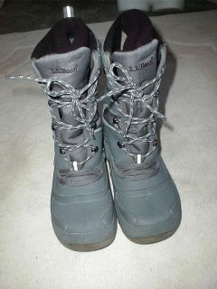 Bean Insulated Waterproof Winter Boots Mens 6 Womens 8 Gray Mint