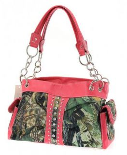 PINK CAMO CAMOUFLAGE WESTERN RHINESTONE HANDBAG PURSE WITH BLING