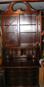antique mahogany drop front secretary desk hutch