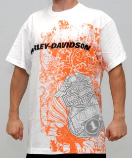 Harley Davidson Mens Police Wrap Around White Mens Short Sleeve T