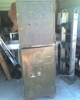 ANTIQUE COMBINATION MILITARY SAFE W/ ADJUSTABLE COMBINATION 2 SAFES IN