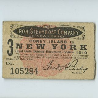 Antique 1910 CONEY ISLAND to NEW YORK CITY Iron Steamboat Co Ticket