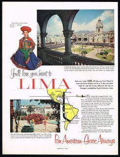 Pan American Grace Airways Lima Peru Plaza De Armas Panagra Print Ad