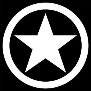 Military Star 6 inch Any Color Auto or Window Sticker