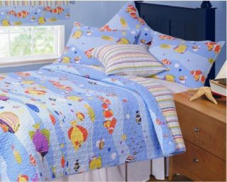 Aquarium Tropical Fish 5pc Twin Single Quilt Set Ocean Beach Comforter