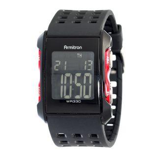 Armitron Mens Watch Sqr Digital Black Strap Chrono Alarm Lap Wr 330