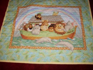 HANDMADE JUNGLE BABES NOAHS ARK BABY QUILT. SUPER SWEET 35 X 45