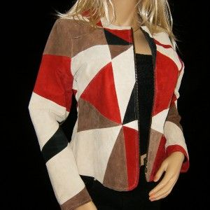 karen arnold red black beige suede leather jacket l
