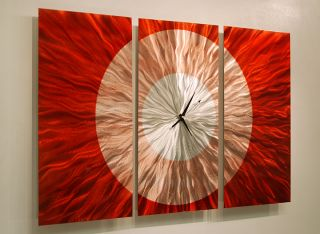 Artwork Clock Sculpture Contemporary Hand Painted Red Metal Art