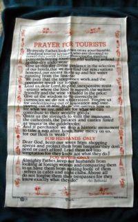 New Fingal Irish Linen Kitchen Towel Prayer for Tourist