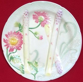 Large Antique French Majolica KG St Clement Luneville Asparagus Plate