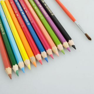 12 Colors Water Soluble Drawing Pencils Faber Castell + 1 Brush